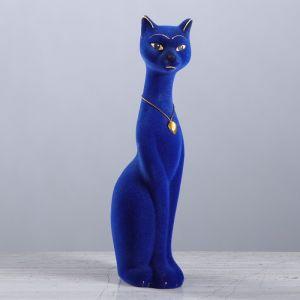 """Копилка """"Кошка Мурка"""", покрытие флок, синяя, 26 см"""
