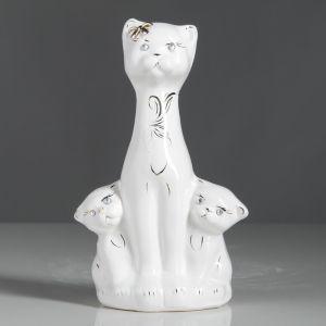 """Копилка """"Кошка с котятами"""", покрытие лак, белая, 22 см"""