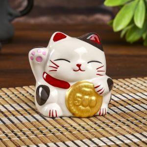 "Копилка керамика ""Манэки-нэко с монеткой"" 7,5х7х7 см   4295814"