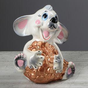 """Копилка """"Мышь с монетами"""", разноцветный, 20 см"""