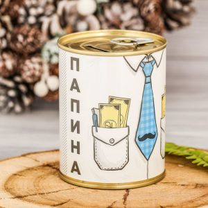 "Копилка-банка металл ""Папина заначка"" 7,5х9,5 см 2671408"