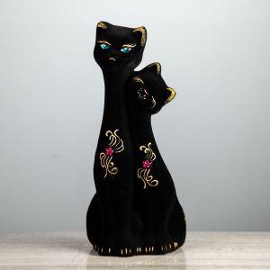 """Копилка """"Кошка и кот"""", флок, чёрная, 32 см, микс"""