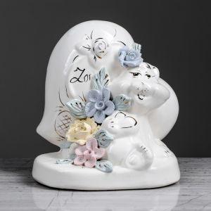 """Копилка """"Котенок с сердцем"""", глазурь, белый цвет, 13 см"""