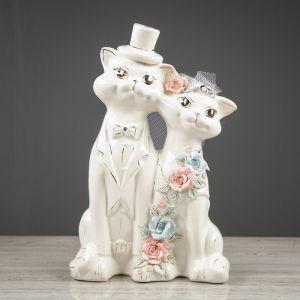 """Копилка """"Коты жених и невеста"""", глазурь, белый цвет, 33 см"""