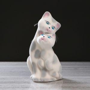 """Копилка """"Коты пара"""", покрытие флок, бело-серая, 27 см"""