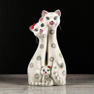 """Копилка """"Коты семья"""", покрытие флок, серая, 38 см, микс"""
