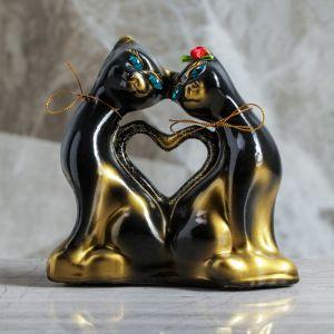 """Копилка """"Коты сердце"""", покрытие лак, золотисто-чёрная, 16 см"""