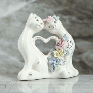 """Копилка """"Коты сердце"""", глазурь, белый цвет, 15 см"""
