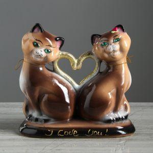 """Копилка """"Коты сердце"""", покрытие лак, коричневая, 20 см"""