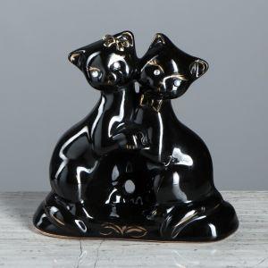 """Копилка """"Коты танцующие"""", покрытие глазурь, чёрная, 15 см"""