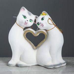 "Копилка ""Кошки Сердце"", флок, белый цвет, 27 см, микс"