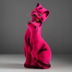 """Копилка """"Пара котов"""", покрытие флок, розовая, 40 см"""