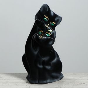 """Копилка """"Пара котов"""", покрытие флок, чёрная, 29 см"""