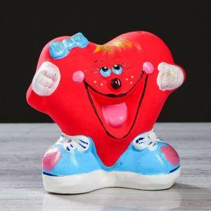"""Копилка """"Сердце девочка"""", глянец, красный цвет, 14 см"""