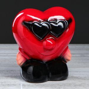 """Копилка """"Сердце в очках"""", глянец, красный цвет, 20 см"""