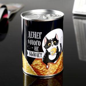 "Копилка металл банка ""Денег много не бывает"" 10х7,3х7,3 см   4344931"