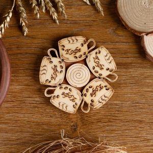 Подставка под горячее «Кофе с зернами», D=11 см, разные породы деревьев   4779522