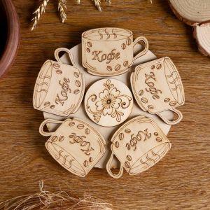 Подставка под горячее «Кофе с зернами», D=20 см, разные породы деревьев   4779514