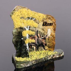 """Сувенир-скол """"Лось"""", змеевик, каменная крошка, большой 3681660"""