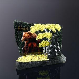 """Сувенир-скол """"Мишка"""", змеевик, каменная крошка, большой 3681657"""