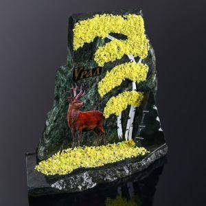 """Сувенир-скол """"Олень"""", змеевик, каменная крошка, большой 3681659"""