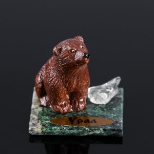 "Сувенир ""Бурый медведь"", 5х5х4 см, змеевик, гипс, микс   4746719"