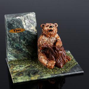 """Сувенир """"Медведь с бревном"""", 10х15х10 см, змеевик, гипс   4746678"""