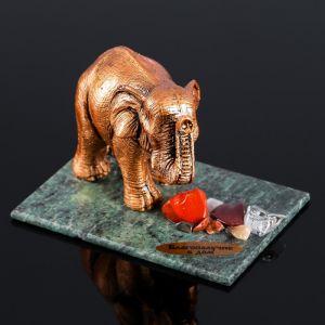 """Сувенир """"Слон"""", 7х10х7 см, смеевик, гипс, минералы   4746698"""