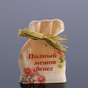 """Сувенир """"Полный мешок денег"""", селенит, с магнитом  4991490"""