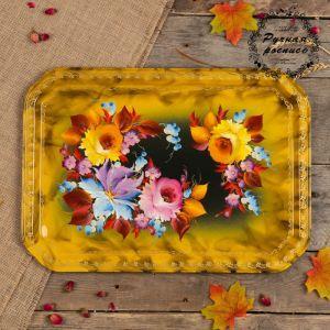 Поднос «Цветы»,  жёлтый фон, 45х32 см, ручная роспись   3601374