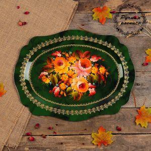 Поднос «Цветы»,  зелёный фон, 46х35 см, ручная роспись   3601380