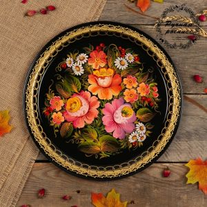 Поднос «Цветы», чёрный фон, D=32 см, ручная роспись 3601347
