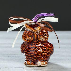 "Оберег ""Сова-колокольчик"" 10 см, коричневая, керамика"