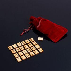 Набор скандинавских рун, 25 шт., бук (в комплекте мешочек) 2343020