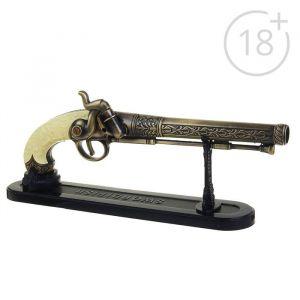 """Зажигалка на подставке """"Мушкет"""" с рукоятью под слоновую кость, газ, 30х10х4 см 539575"""