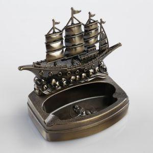 """Зажигалка с пепельницей """"Корабль на волнах"""", пьезо, газ"""