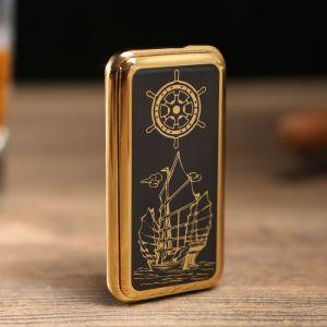 "Зажигалка электронная ""Корабль"", USB, спираль, слайдер, чёрная, 7.5х12 см 3283688"