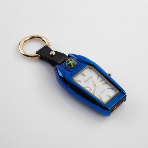 Зажигалка электронная с часами, компасом и фонарём,USB. спираль 7.5х2.5х2 см микс  4738447