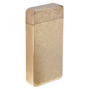 Зажигалка электронная, дуговая, USB, цветочный орнамент, золотая, 7.5х12 см 3283677