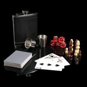 Набор 6 в1: фляжка 8 oz, рюмка, воронка, кубик 5 шт 1.5 см, карты, шахматы 3470680