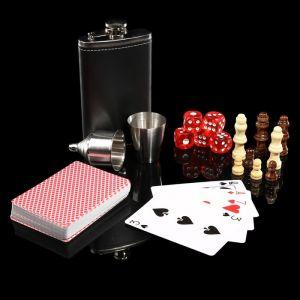 Набор 6 в1: фляжка 8 oz, рюмка, воронка, кубик 5 шт 1.5 см, карты, шахматы 3470682