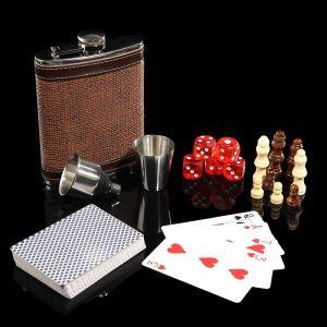 Набор 6 в1:фляжка 8 oz, рюмка, воронка, кубик 5 шт 1.5 см, карты, шахматы 3470679