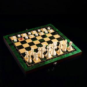 """Настольная игра 3 в 1 """"Малахит"""":  шахматы, шашки, нарды (доска дерево 40х40 см) 4518071"""