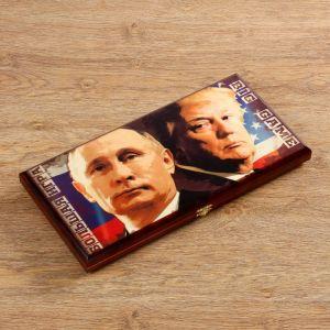 """Нарды """"Путин & Трамп"""", деревянная доска 40х40 см, с полем для игры в шашки 2760072"""
