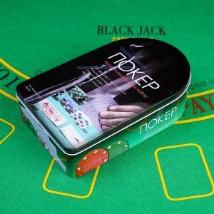 Набор для игры в покер: 2 колоды карт микс,120 фишек с/ном,сукно 57 ? 40 см, металл.коробка,  637895