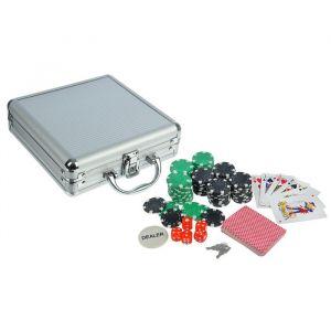 Покер в металлическом кейсе (карты 2 колоды, фишки 100 шт, 5 кубиков), 20х20 см 278721
