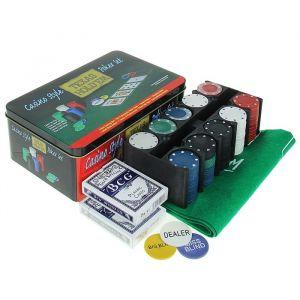 Покер, набор для игры (карты 2 колоды, фишки 200 шт б/номин, сукно 60х90 см) микс 278719