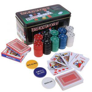 Покер, набор для игры (карты 2 колоды, фишки 200 шт с/номин, сукно 60х90 см) микс 269185