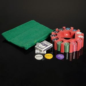 Покер, набор для игры (карты 2 колоды, фишки 240 шт, сукно 60х90 см), микс 427374