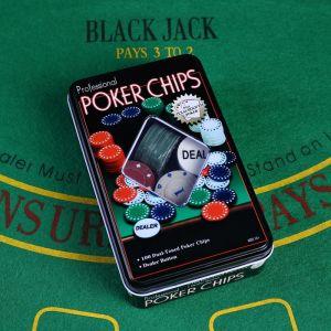Покер, набор для игры, фишки 100 шт  11.5х19 см 427370